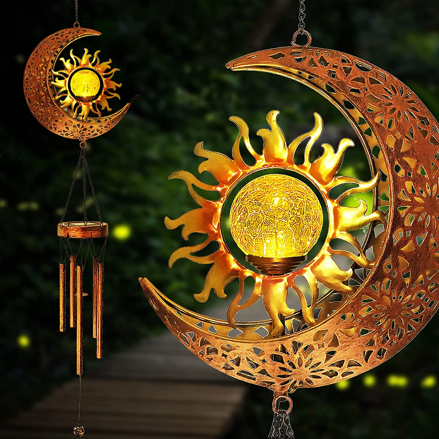 Solar Wind Chimes Outdoor Hanging-Metal Moon Sun Waterproof Wind Chime Lights with Crackle Glass Ball Warm LED Lights Moon Decor Gift for Garden Yard Patio (Moon)