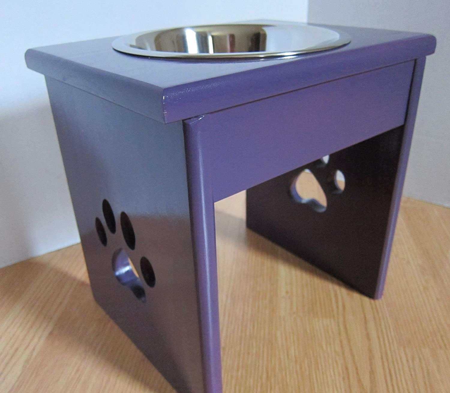 Single Paw Print Cut-Out Leg Elevated Food Dish Holder - XSmall
