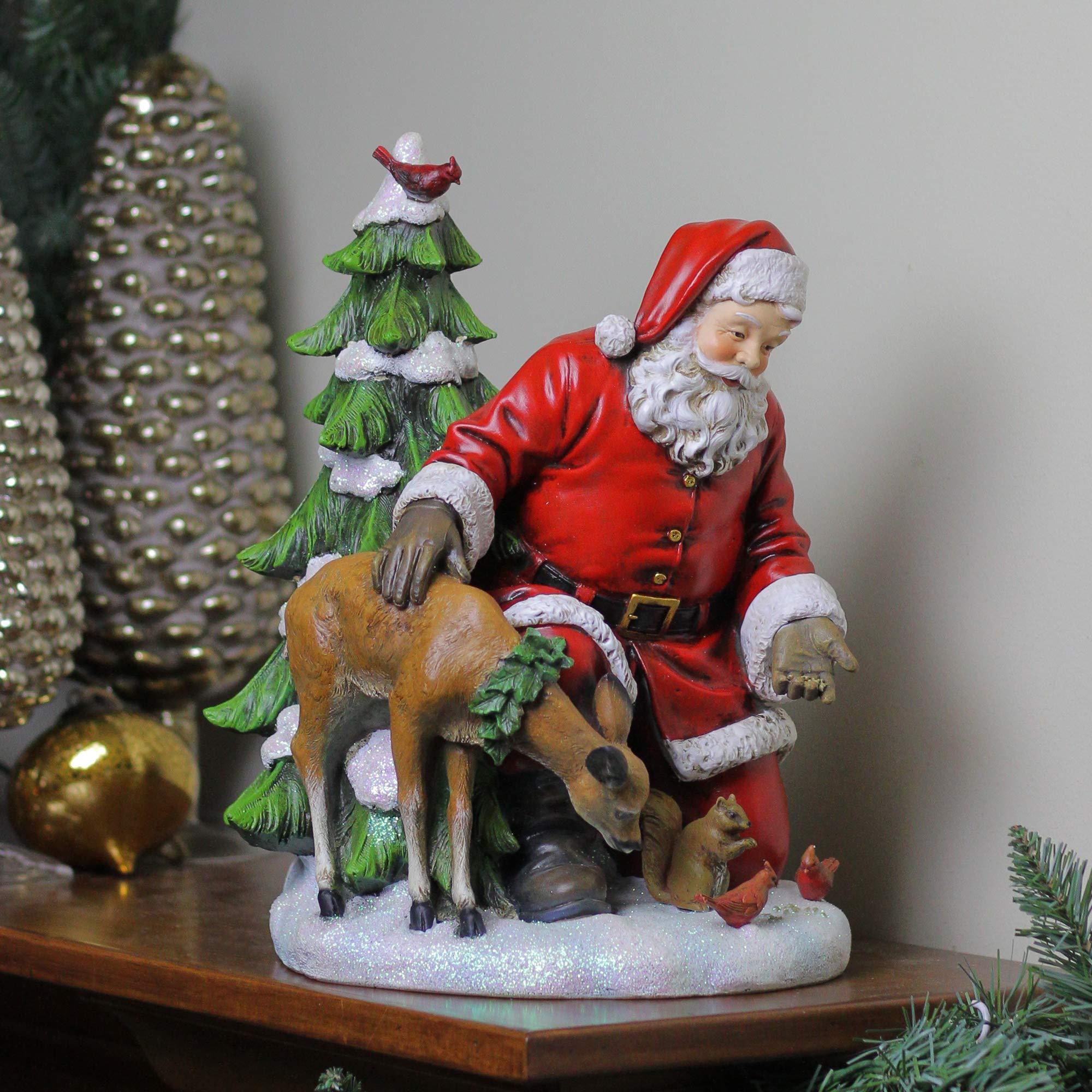 Napco 11.5'' Santa Claus Feeding The Animals Christmas Table Top Figurine