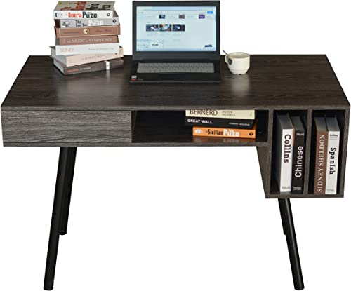 Kiimeey Computer Desk Home Office Desk Writing Student Work Desk Modern Desk with Drawer Shelves