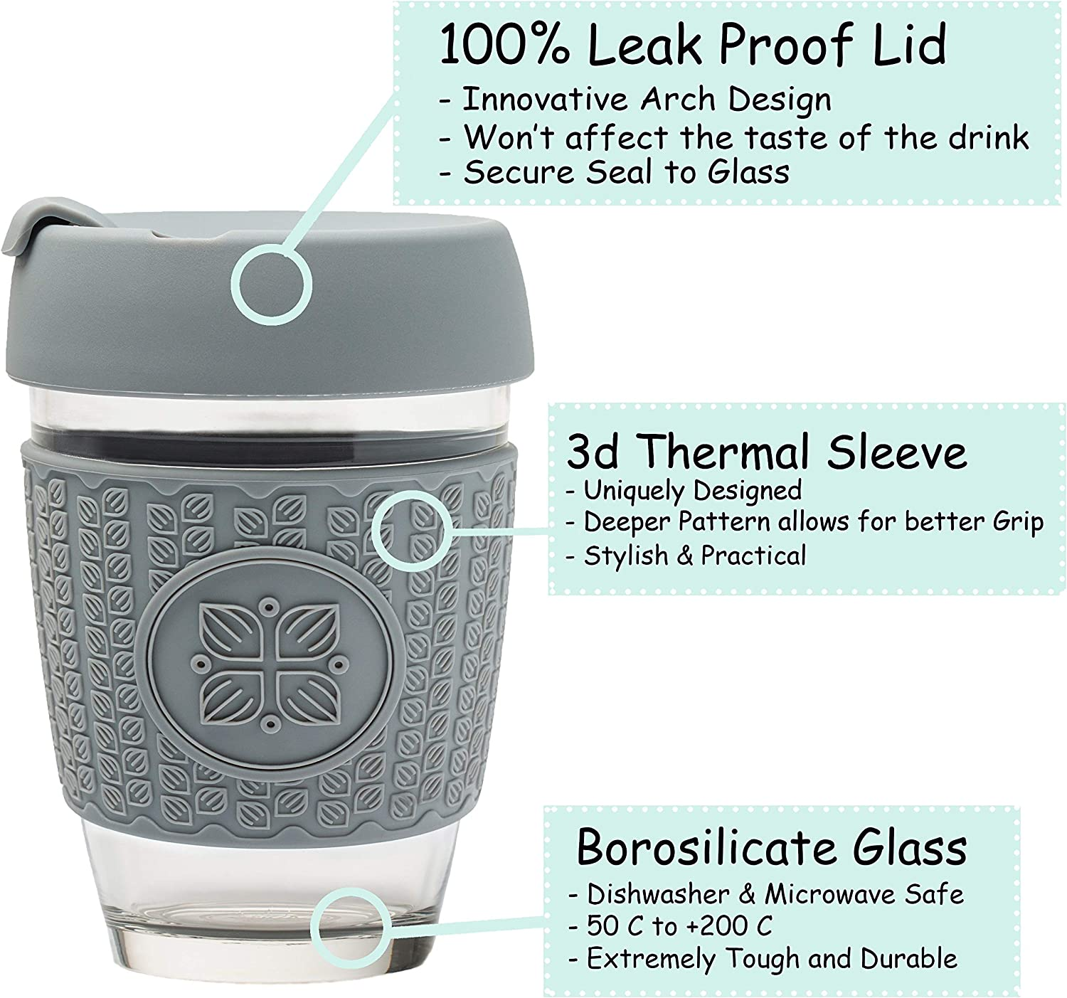 High Quality Borosilicate Glass Thickened 3D Thermal Sleeve 12oz Barrister Friendly Eco-Friendly Travel Mug Grey Leek Proof Lid FUNK MY WORLD Reusable Coffee Cups