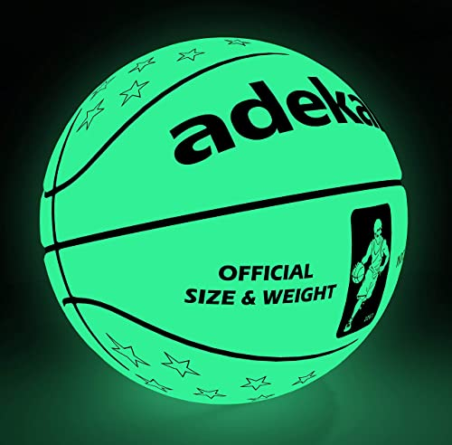 adekale Basketball Ball,Battery-Free Light Up Basketball, PU Glow in The Dark Basketball, Fluorescent Bright After Sun Shine,Official Size Weight Size 7 with Pump for Man Teen Boy