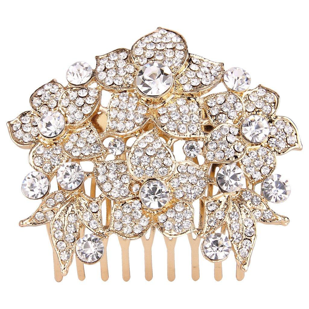 EVER FAITH Women's Austrian Crystal Wedding Elegant Flower Cluster Hair Comb Clear Gold-Tone