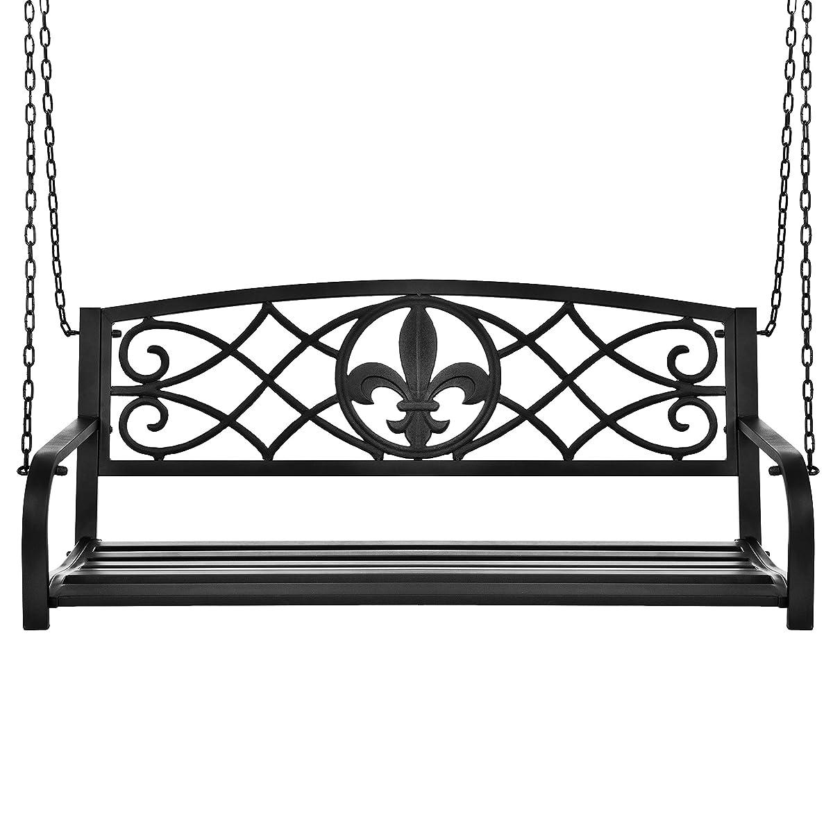 Best Choice Products Outdoor Furniture Metal Fleur-De-Lis Hanging Patio Porch Swing - Black