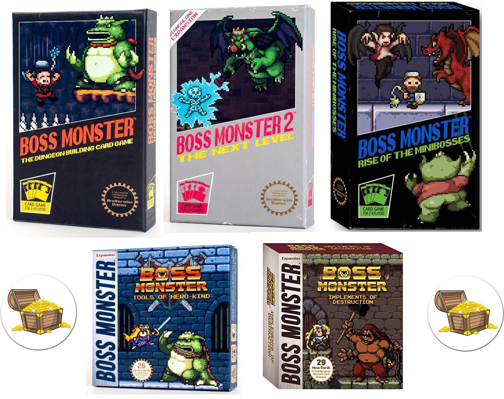 Boss Monster Card Game Bundle with Boss Monster 1, 2, and 3, Implements of Destruction and Tools of Hero Kind Plus 2 Treasure Chest Buttons