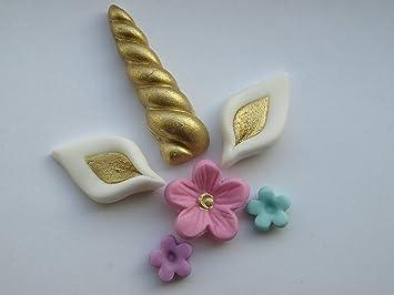 Decoración comestible para cupcakes, diseño de unicornio con orejas de cuerno - decoración para tartas, unicornio arcoíris para niños, fiesta de cumpleaños: ...