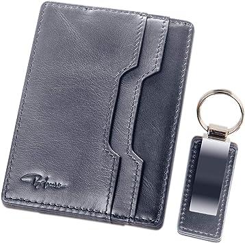 Minimalist Leather Credit Card Holder Blocking Wallet Money Clip