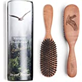 100% Pure Calcutta Wild Boar Bristle Hair Brush, Eagle Engraving (CLC-M), Extra Stiff Natural Bristles, Medium Hair Thickness, Pear Wood Handle, Made in Germany, by Desert Breeze Distributing