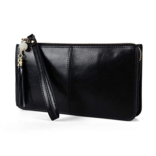 a5ed1d74585a befen Women's Leather Wristlet Clutch Cell Phone Wallet, Multi Card  Organizer Wallet Purse (Black