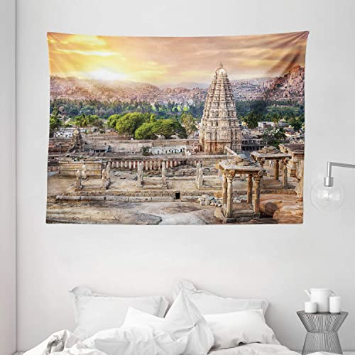 Ambesonne Asian Tapestry, Viruphaksha Building View Up from The Hills Sunset Above City Buildings Rock Tower, Wall Hanging for Bedroom Living Room Dorm, 80 W X 60 L Inches, Orange Cream