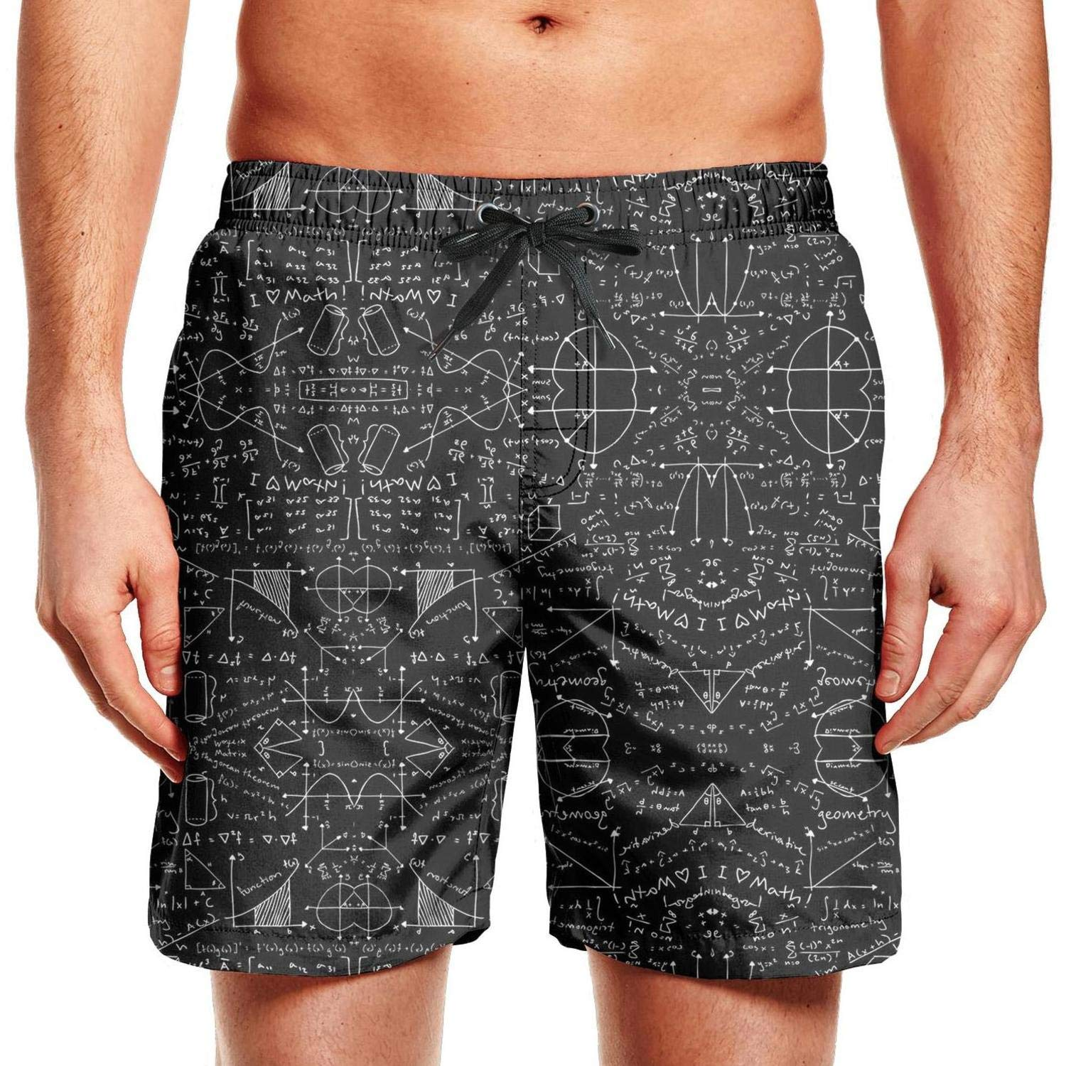 Printed Quick Dry Swimming Trunks Sportswear Beach Shorts LIXG Mens Math-Funny-Equations-Count-On-It