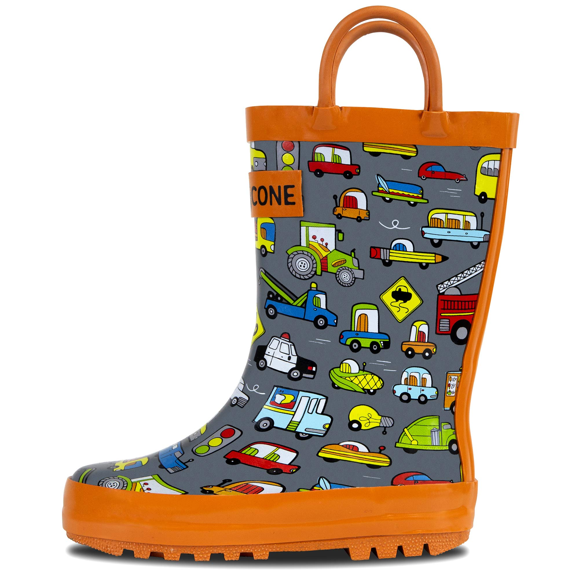 LONECONE Rain Boots with Easy-On Handles in Fun Patterns for Toddlers and Kids, Rush Hour, Toddler 8