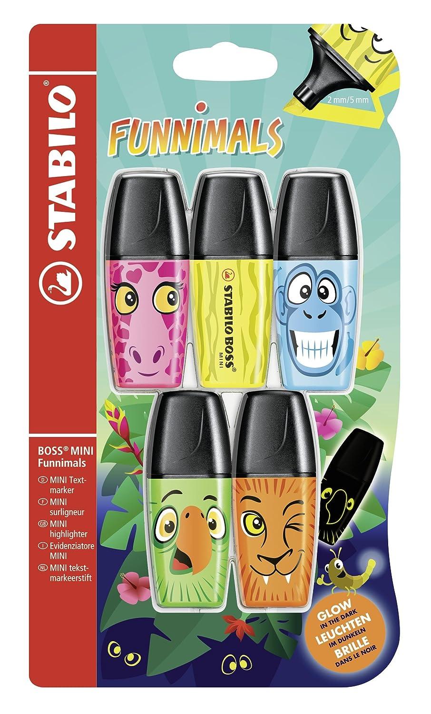 STABILO BOSS MINI Funnimals 5 evidenziatori Blister colori assortiti B-48016-10