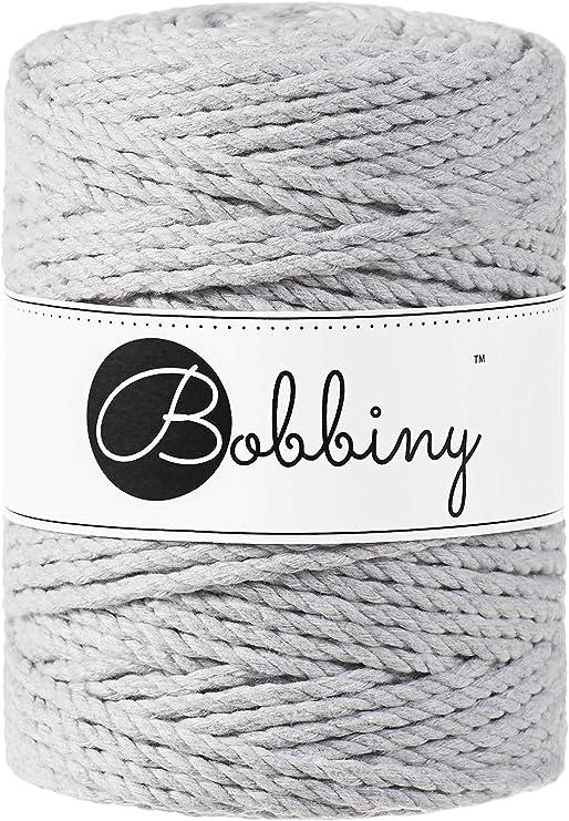 Avocado 100 m x 3 mm Cotone Bobbiny Oeko-Tex Premium Filato macram/è in Cotone Ecologico 3 mm x 100 m