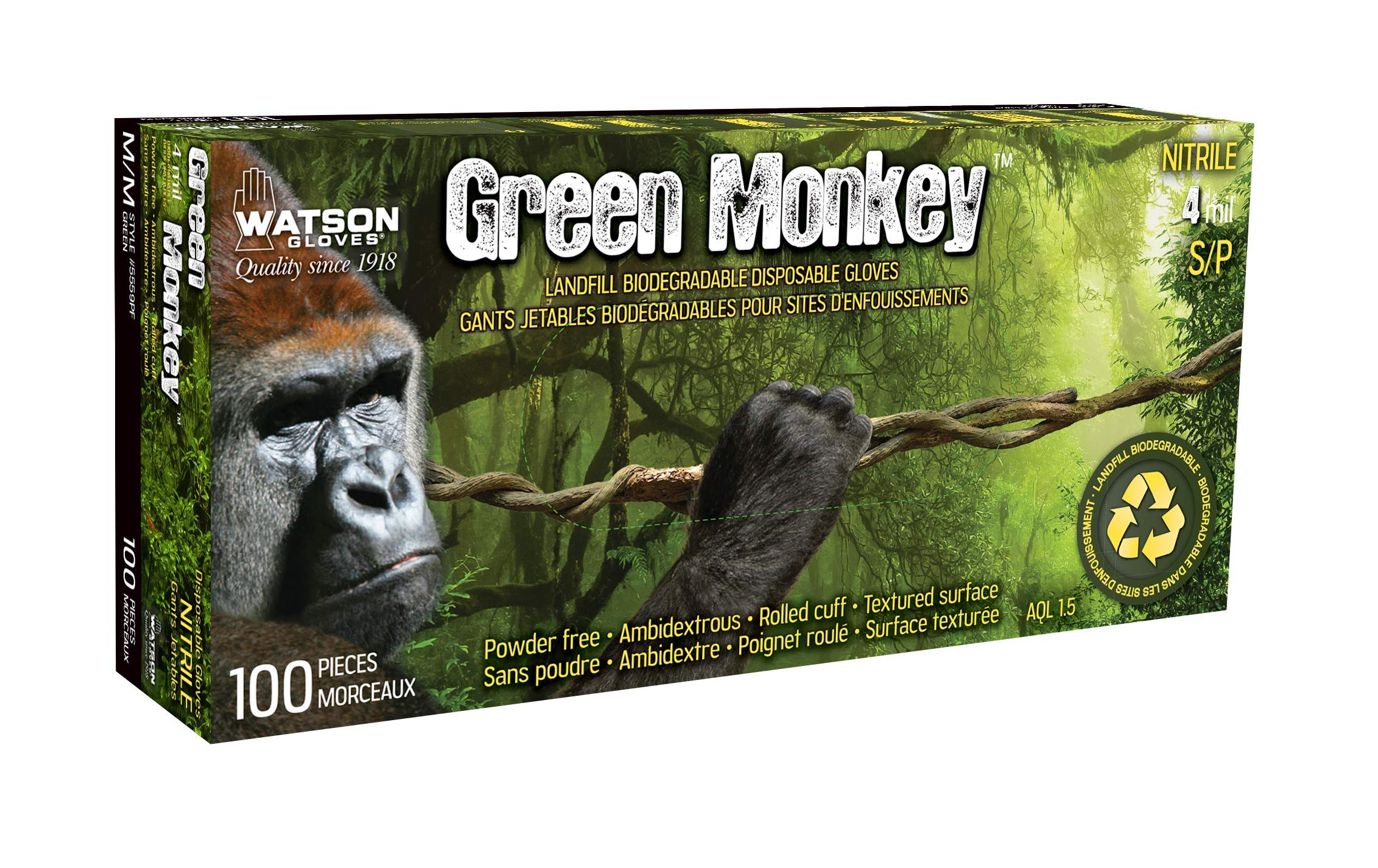 Green Monkey Biodegradable Disposable Gloves (Extra Large)