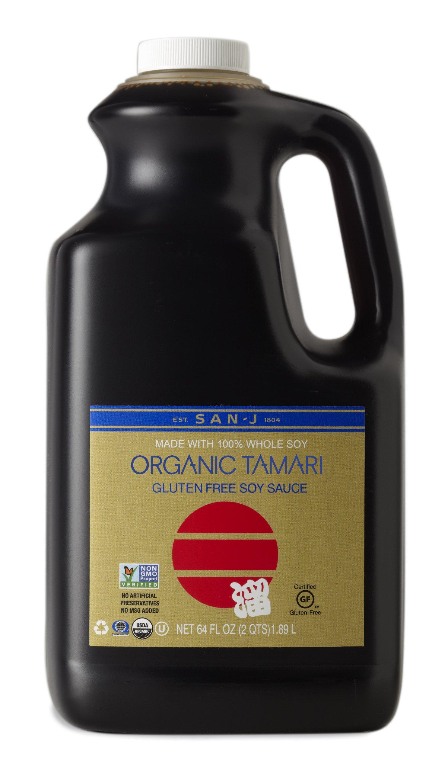 San-J Organic Tamari Gluten Free Soy Sauce Non-GMO,  Gold Label, 64 Ounce by San-J