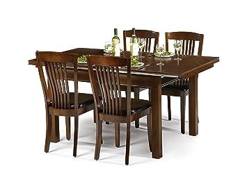3d95bad8b9 Julian Bowen Canterbury Extending Dining Table Set, Mahogany Finish, Table  and 4 Chairs
