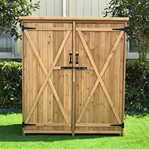 Outdoor Wooden Garden Shed, Lovinouse Outside Fir Wood Storage Cabinet, Wooden Tool Sheds for Home Yard Patio Backyard Deck