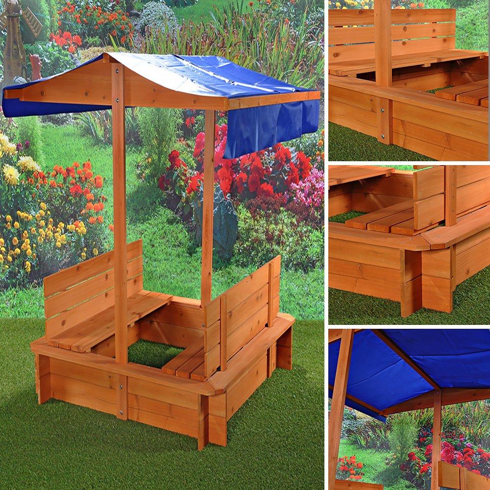 Sandkasten Sandkiste mit Dach und 2 Sitzbänken groß aus Fichtenholz 120 × 120 × 120 cm