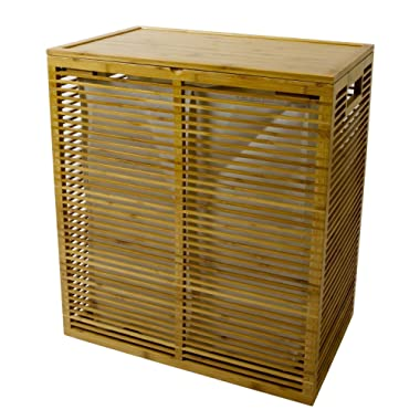 Open Slats Bamboo Hamper Plus Lid with Removable Canvas Liner
