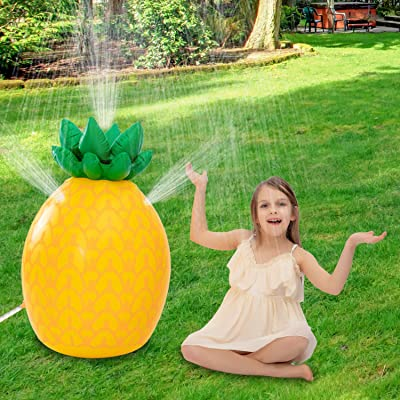 "JOYIN Inflatable Tropical Pineapple Sprinkler, 35"" Lawn Sprinkler for Kids Water Toy for Boys Girls Water Party Outdoor Sprinkler for Water Fun: Toys & Games"