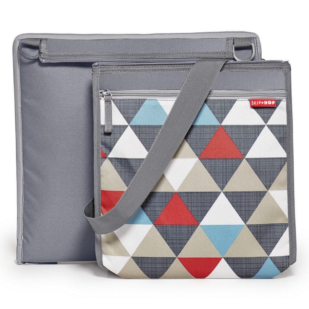 Skip Hop Baby Infant & Toddler Central Park Waterproof Convertible Outdoor Blanket & Detachable Cooler Bag, Multi Triangles
