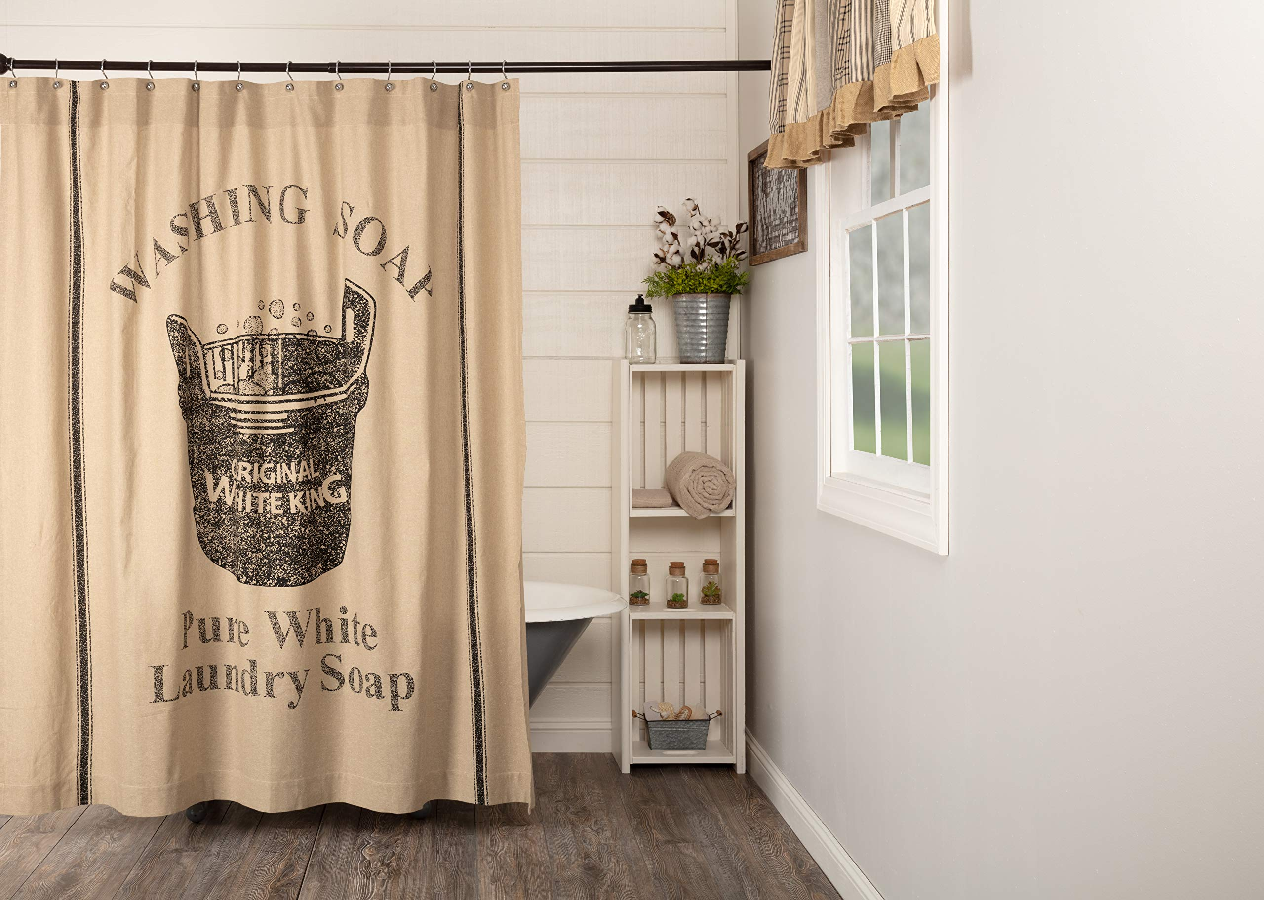 VHC Brands Valley Farms Farmhouse Wooden Soap Tubv Shower Curtain 72x72