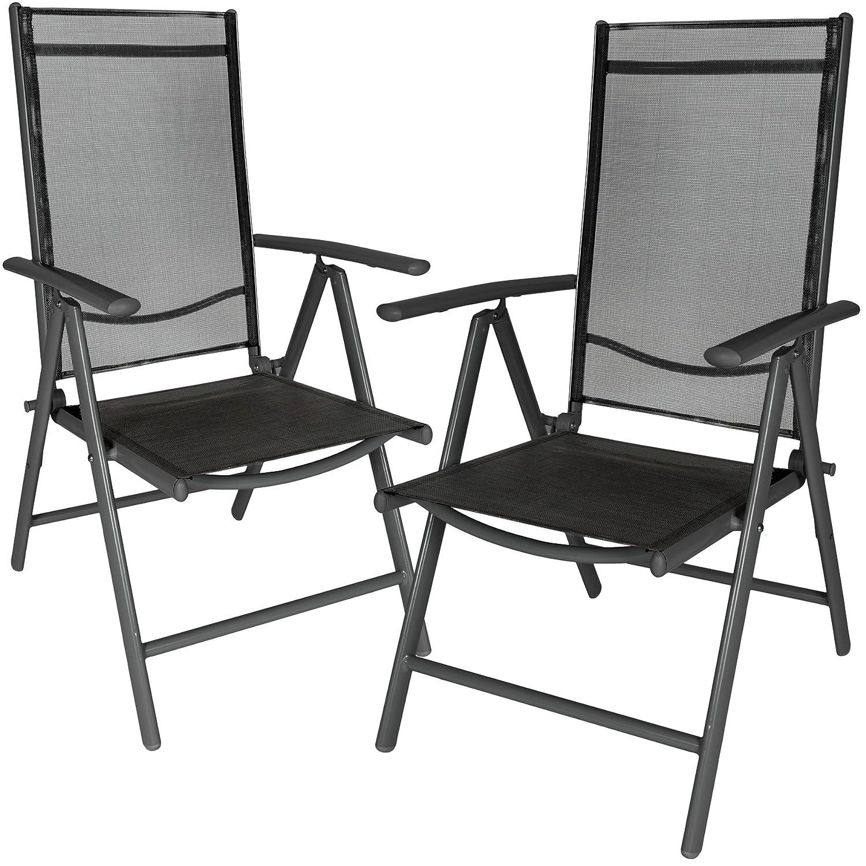 TecTake Aluminium Klappstuhl Gartenstuhl Set verstellbar mit Armlehnen - Diverse Farben und Mengen - (Anthrazit   2er Set   Nr. 401633)