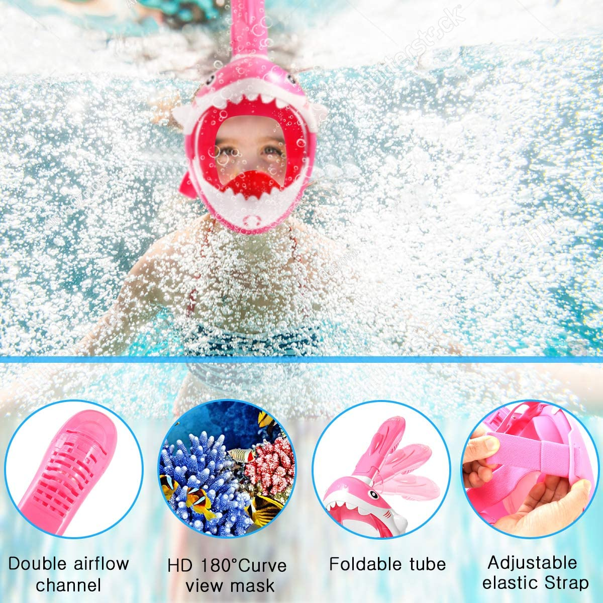 Frebw Safety Adult Children Snorkeling Face Mask Foldable 180 Degree Panoramic Anti-Fog Anti-Leak Free Breathing Snorkel Mask with Camera Mount Adopted Latest Dry Top System