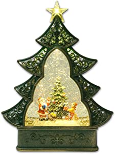 Kuda Moda Santa Claus Christmas Snow Globe, LED Star Light Christmas Tree Style, Battery Operated Swirling Glitter Water for Holiday Season Home Decor A (Large 11.5
