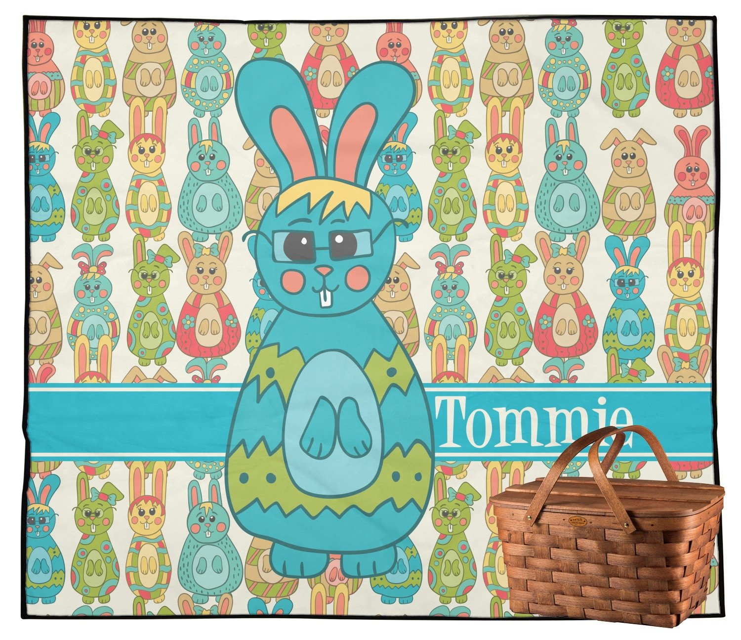 RNK Shops Fun Easter Bunnies Outdoor Picnic Blanket (Personalized)