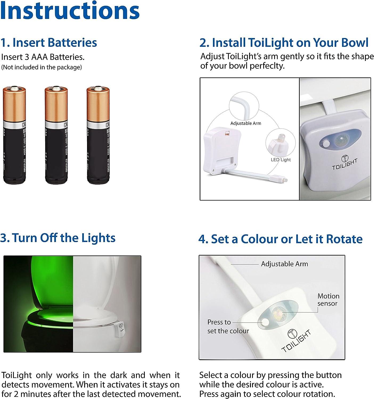 The Original Toilet Night Light Tech Gadget. Fun Bathroom Motion Sensor LED Lighting. Weird Novelty Funny Birthday Gag Stocking Stuffer Gifts Ideas for Him Her Guy Men Boy Toddler Mom Papa Brother: Home Improvement