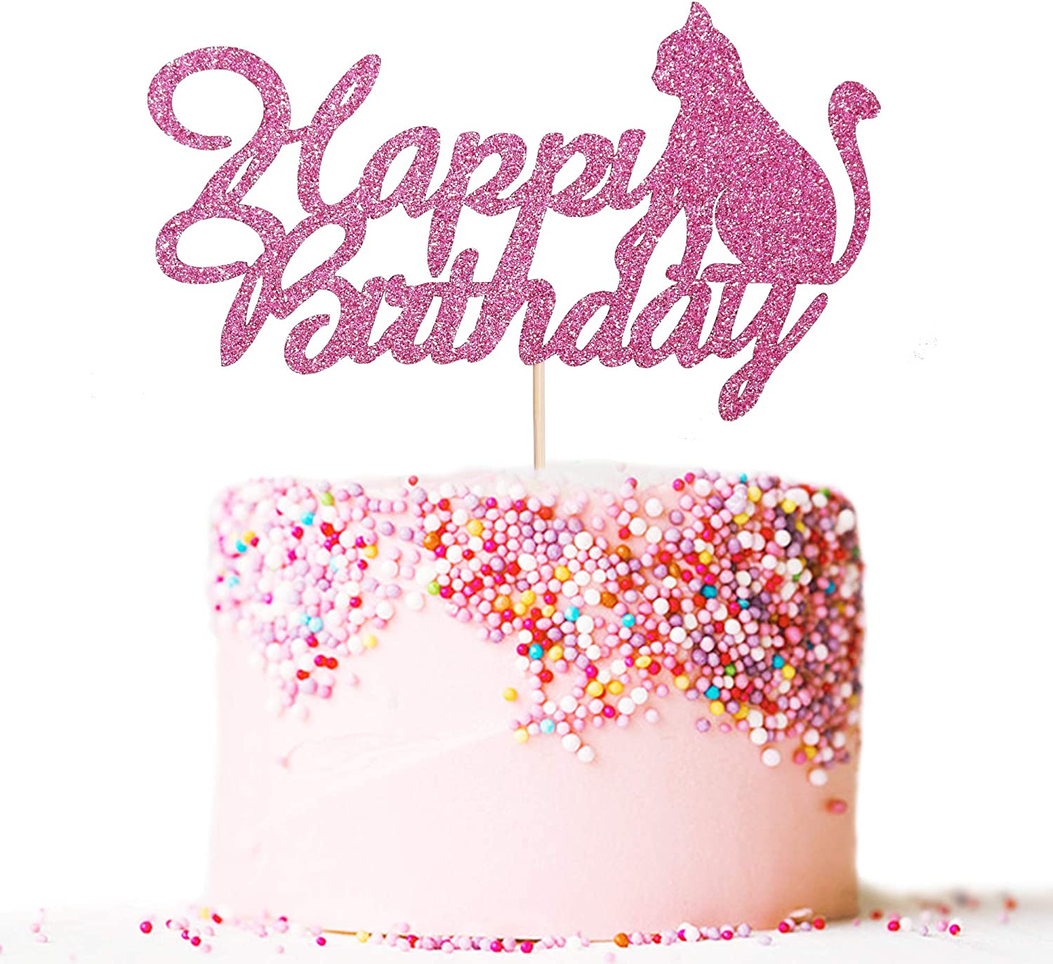 Artczlay Happy Birthday Cake Topper Pink Glitter Cat Cake Topper Cat Theme Birthday Party Cake Decoration