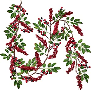 DearHouse 6FT Red Berry Christmas Garland with Green Leaves Wired Christmas Berry Garland Artificail Garland Indoor Outdoor Garden Gate Home Table Runner Decoration for Winter Holiday New Year Decor