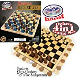 Matty's Toy Stop Deluxe 4-in-1 Chess, Checkers, Tic Tac Toe & Backgammon Wooden Game Set