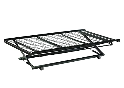Amazon.com: Twin Pop Up Trundle Bed on Rollers Black: Kitchen & Dining
