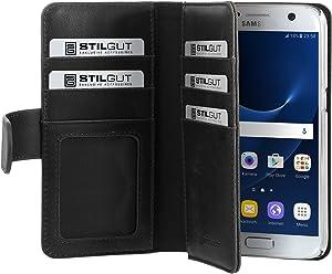 StilGut Talis XL Custodia protettiva per Samsung Galaxy S7 con tasche per carte. Chiusura a libro Flip Case per Samsung Galaxy S7, nero