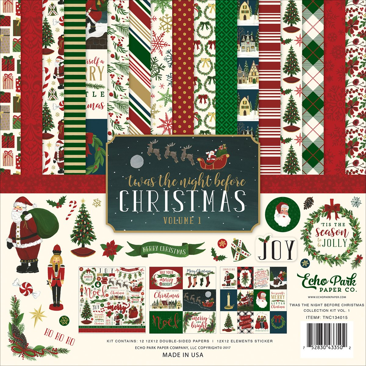 Echo Park Paper Company Night Before Christmas Collection Kit Vol. 1 1
