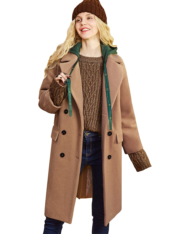 Brown 3 Elf Sack Women Double Breasted Trench Coat, Wool Blend Long Pea Coat Hood Jacket Outwear