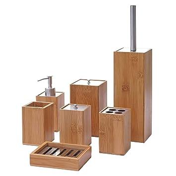 Mendler 7-teiliges Badset HWC-A90, WC-Garnitur Badezimmerset Badaccessoires  Seifenspender Zahnbürstenhalter Seifenschale, Bambus