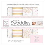 SwaddleDesigns Cotton Muslin Swaddle Blankets, Set of 4, Pink Shimmer (Parents' Picks Award Winner)
