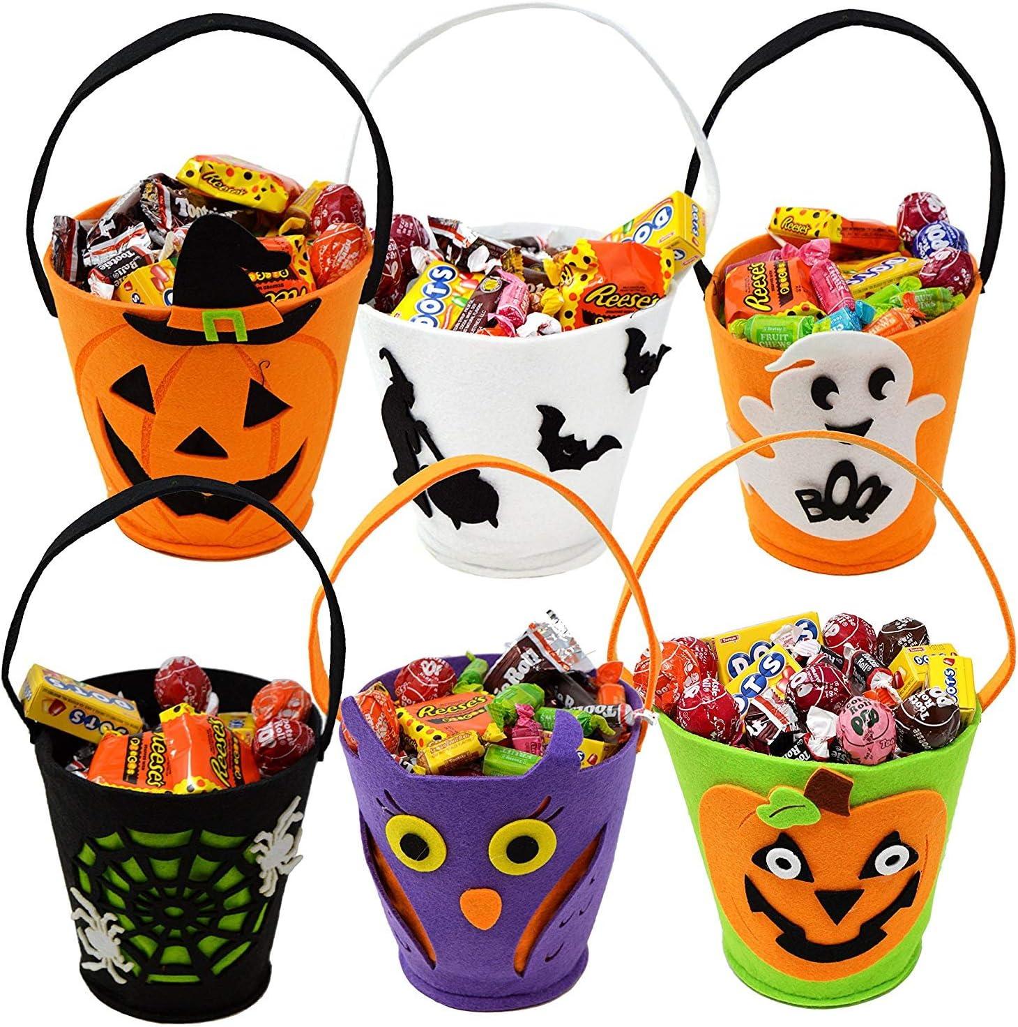 bonbon Goodie et citrouille Sac /à main pour Halloween f/ête de No/ël cadeau de f/ête 6 pi/èces cadeau en feutrine comme sur limage EASYBUY Lot de 6 sacs fourre-tout r/éutilisables pour Halloween