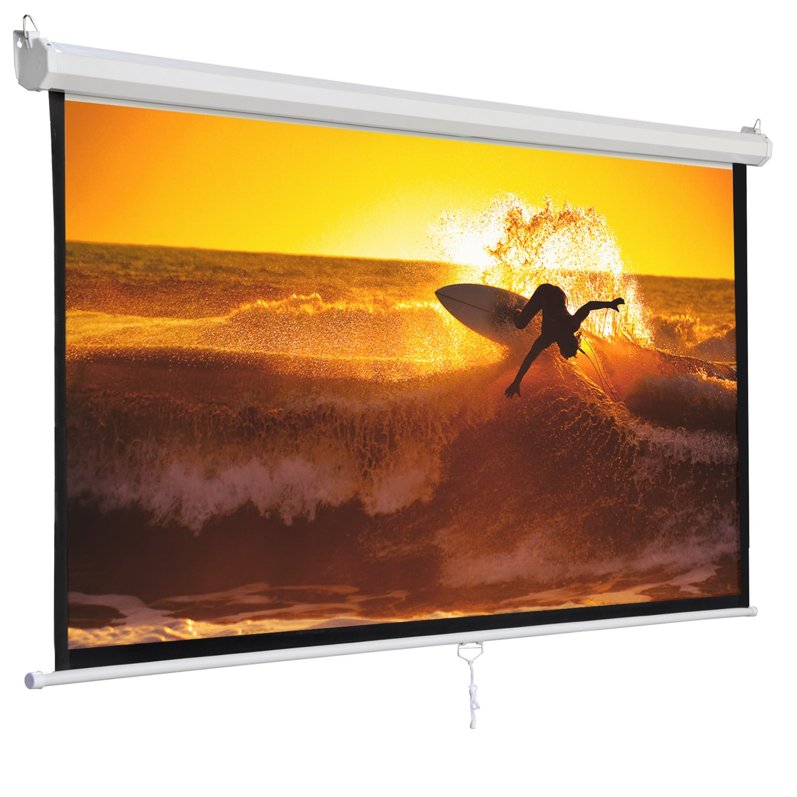 SUPER DEAL 120'' Projector Screen Projection Screen Manual Pull Down HD Screen 1:1 Format for Home Cinema Theater Presentation Education Outdoor Indoor Public Display by SUPER DEAL (Image #9)