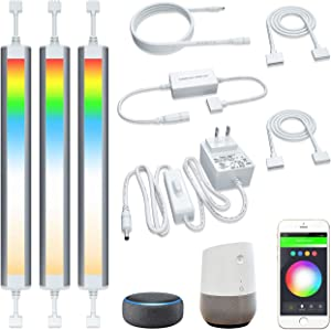 Smart Under Cabinet Lighting Strip Lights White and Multi Color Work with Amazon Alexa Google Home Dimmable for Show Case, TV Back Lights, Kitchen Counter, Book Case, Under Bed (3 Lights Bar kit)