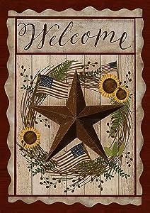 Toland Home Garden 1112203 Barn Star Welcome 12.5 x 18 Inch Decorative, Fall Autumn Patriotic Farm, Garden Flag