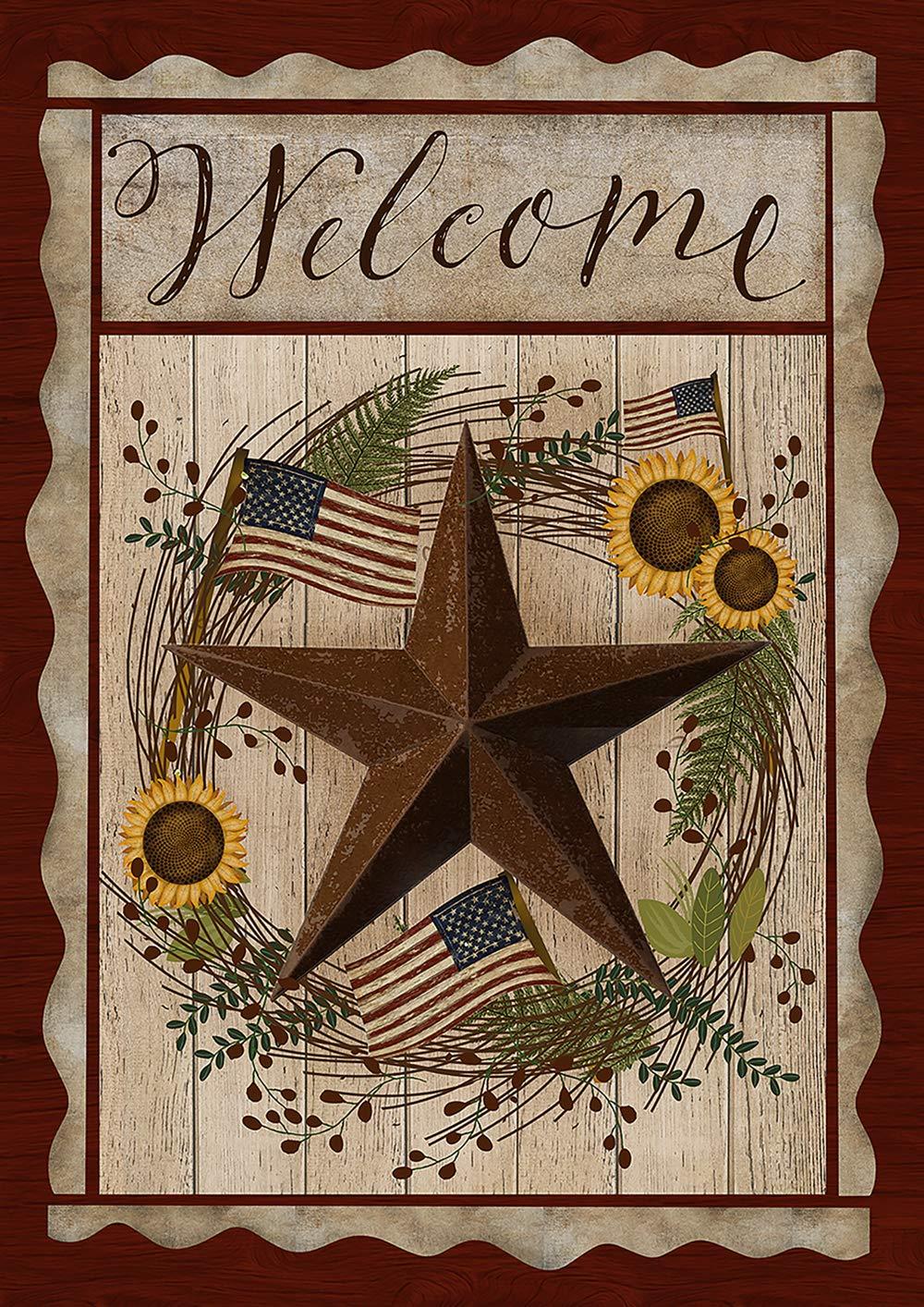 Toland Home Garden 1012203 Barn Star Welcome 28 x 40 Inch Decorative, Fall Autumn Patriotic Farm, House Flag