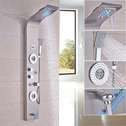 Rozin Stainless Steel Bath Shower Panel Set LED Rainfall Waterfall Shower  Head 5 Function Faucet