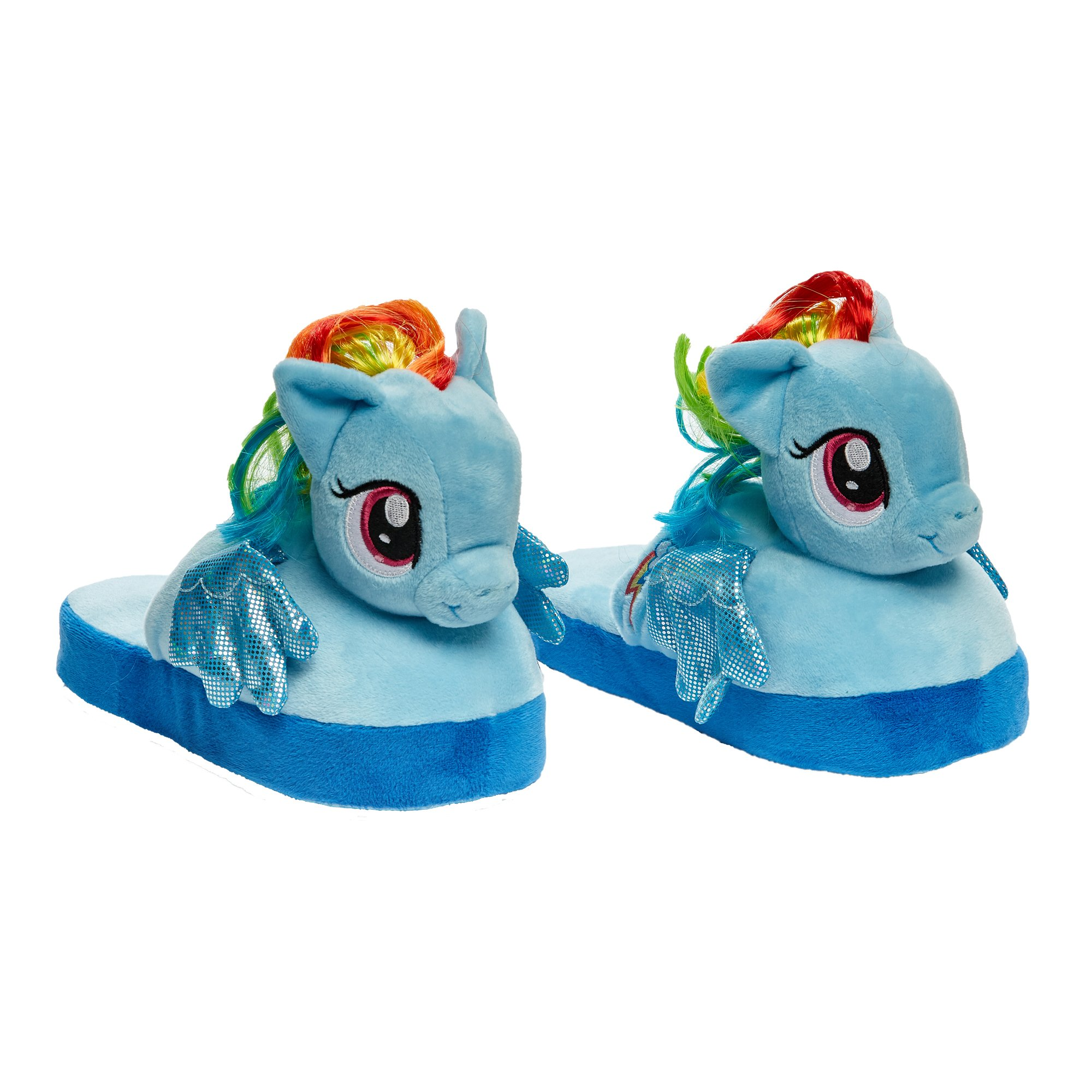 Stompeez Animated My Little Pony Plush Slippers - Ultra Soft and Fuzzy Rainbow Dash Character - Wings Flap as You Walk - Medium