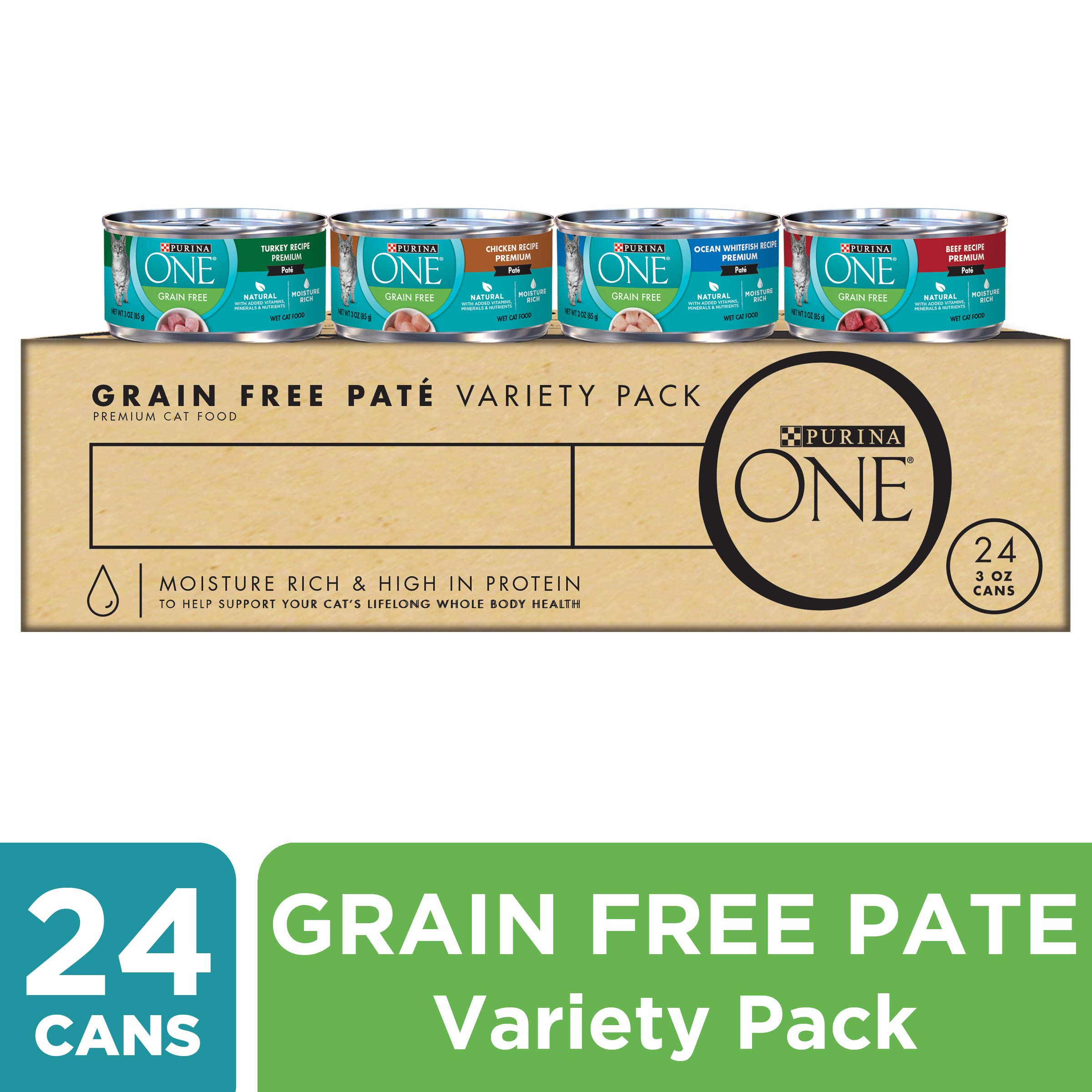 Purina ONE High Protein, Grain Free Pate Wet Cat Food Variety Pack, Grain Free Formula - (24) 3 oz. Cans by Purina ONE