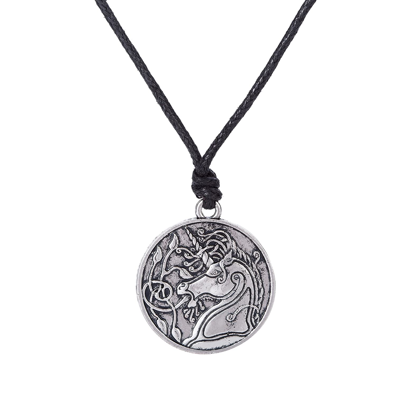 Skyrim Fashion Steampunk Unicorn Animal Jewelry Pendant Necklace for Men  and Women